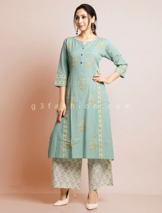 Pista green printed cotton palazzo suit for festive