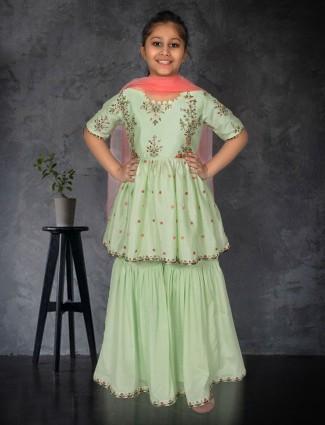 Pista green punjabi sharara suit in cotton silk for girls