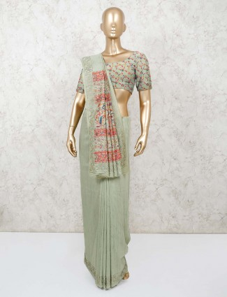 Pista green reception saree in cotton
