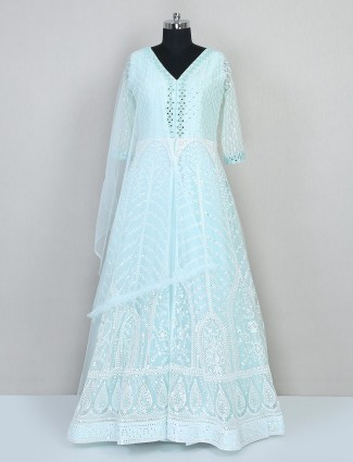 Pista green reception wear net gown