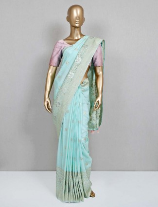 Pista green saree for wedding look in semi silk