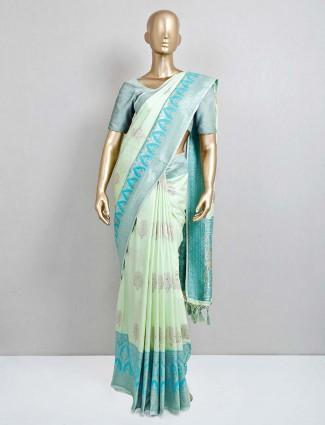 Pista green semi silk saree for festival