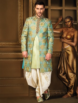 Pista green silk double layered indo western
