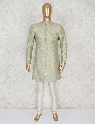 Pista green silk party wear indo western