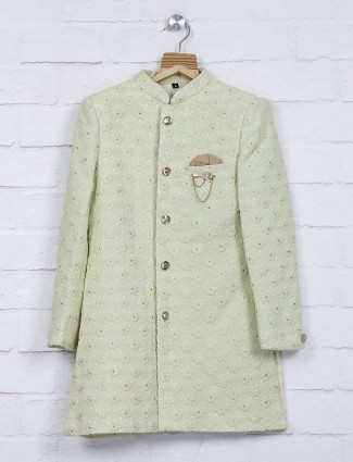 Pista green terry rayon fabric indo western