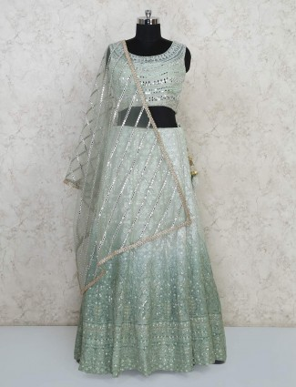 Pista green wedding function lehenga choli