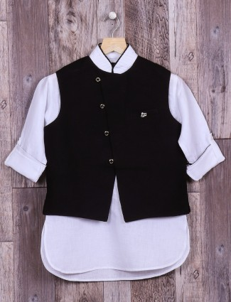 Plain black and white waistcoat set