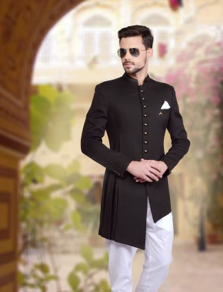 Plain black knitted indo western