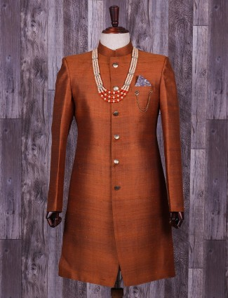 Plain brown wedding wear indo western