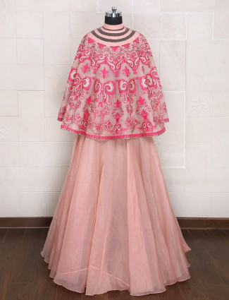 Plain designer cape style lehenga choli in silk fabric