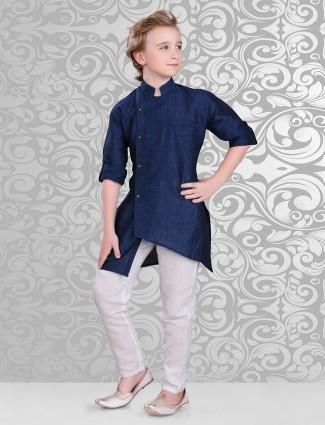 Plain designer navy kurta suit
