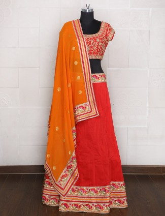 Plain festive wear red hue unstitched lehenga choli