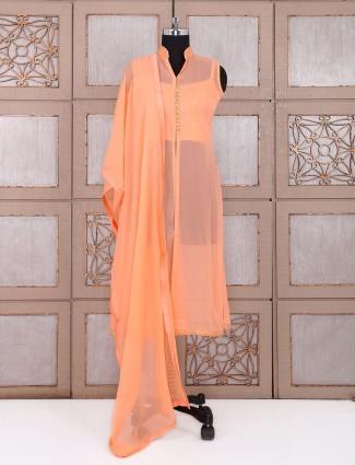 Plain georgette salwar suit in peach color