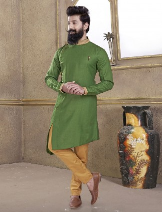 Plain green cotton silk kurta suit