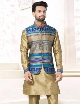 Plain khaki silk wedding wear waistcoat set