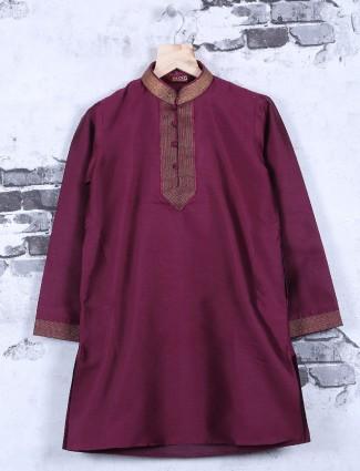 Plain maroon festive wear kurta suit