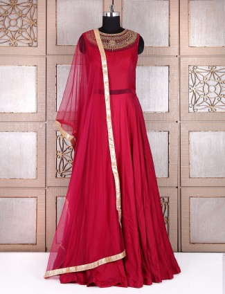 Plain maroon silk long anarkali suit
