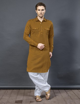 Plain mustard yellow cotton pathani suit