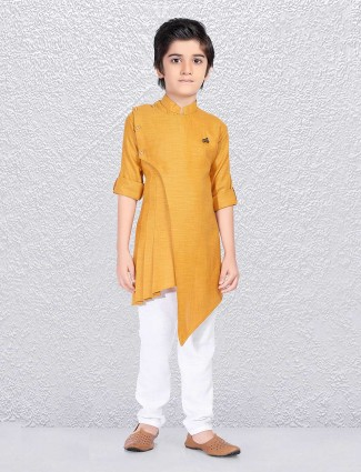 Plain mustard yellow kurta suit