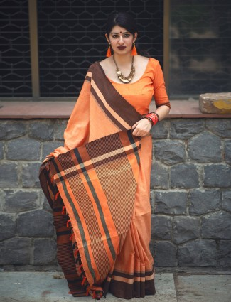Plain orange cotton saree