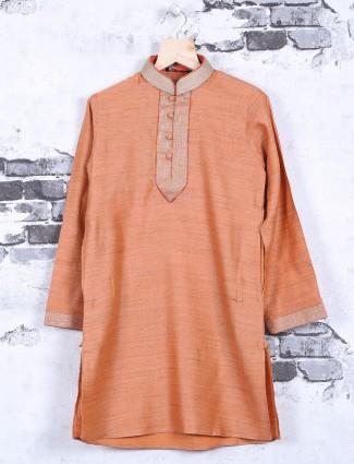 Plain orange cotton silk festive wear kurta suit
