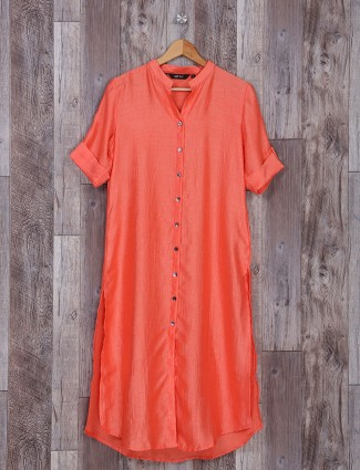 Plain orange cotton silk kurti