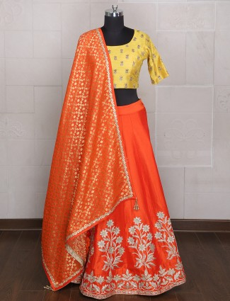 Plain orange yellow silk wedding wear lehenga choli
