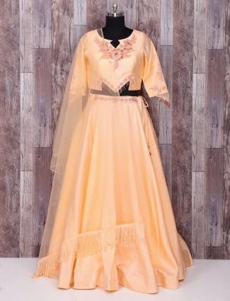Plain peach party wear silk lehenga choli