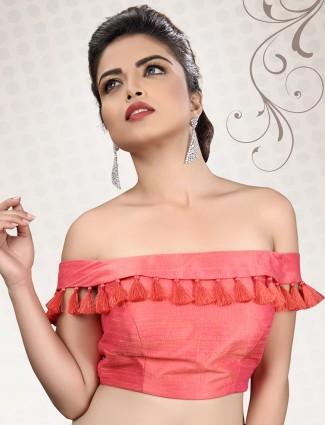 Plain pink designer ready made blouse