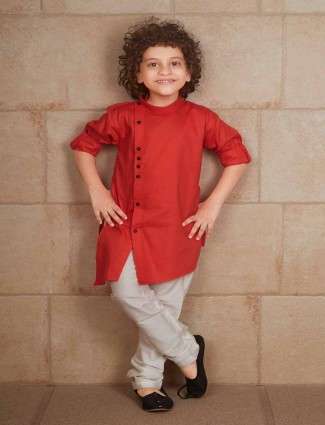 Plain red cotton silk kurta suit