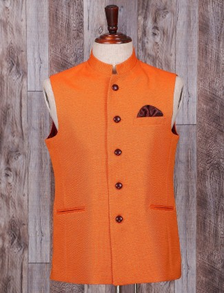 Plain terry rayon orange waistcoat