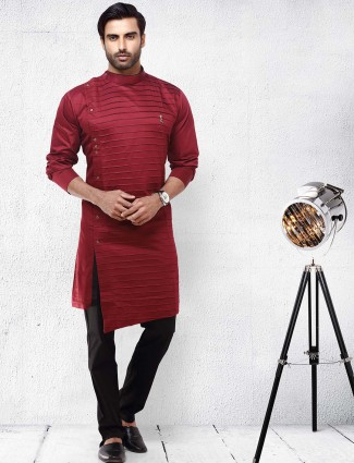 Pleats pattern maroon hued kurta suit