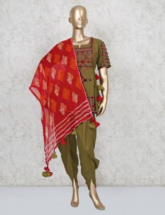 Pnjabi dhoti style thread woven cotton suit