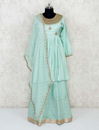 Powder blue cotton silk lehenga suit