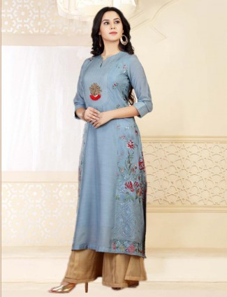 Powder blue cotton silk long kurti