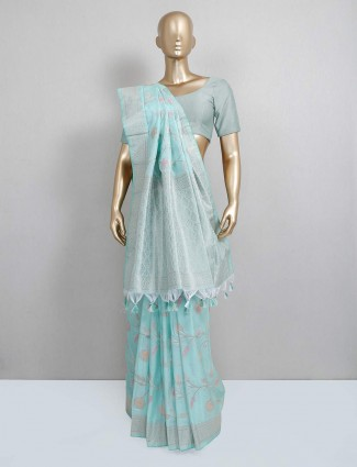 Powder blue festive wear semi silk saree