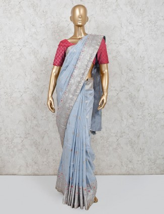 Powder blue party wear muga silk saree