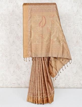 Premium beige pure silk sareee