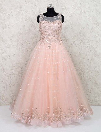 Prett pink net party gown