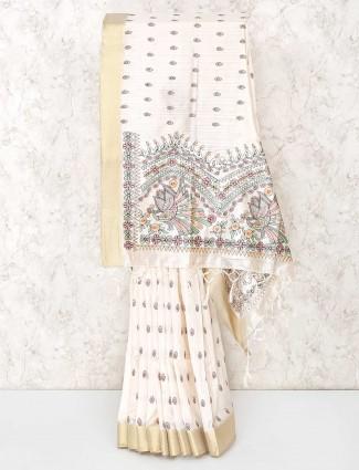 Prettiest cream cotton saree