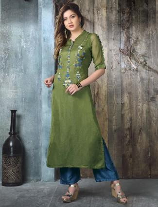 Prettiest green cotton silk kurti