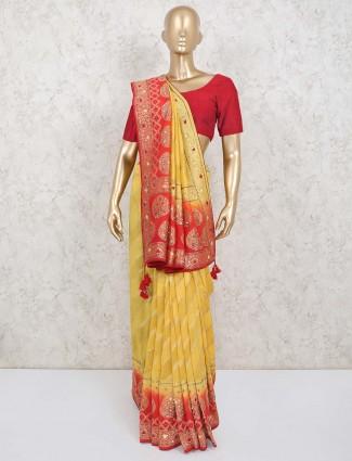 Prettify gold banarasi silk wedding saree