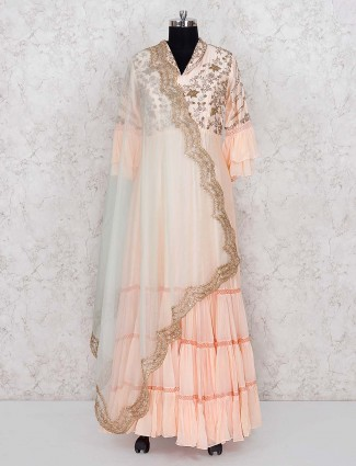 Pretty peach cotton silk floor length anarkali salwar suit