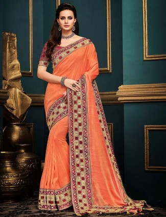 Pretty peach festive wear cotton silk saree