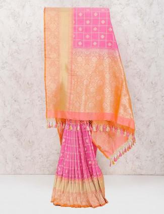 Pretty pink banarasi semi silk wedding saree