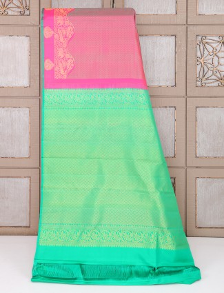 Pretty pink color silk fabric saree