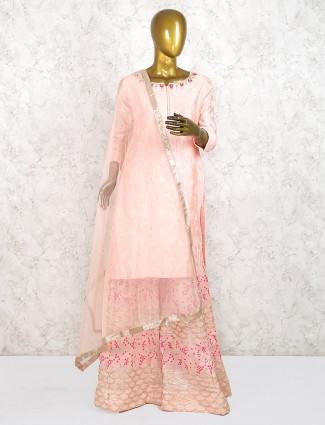 Pretty pink cotton silk festive punjabi palazzo suit