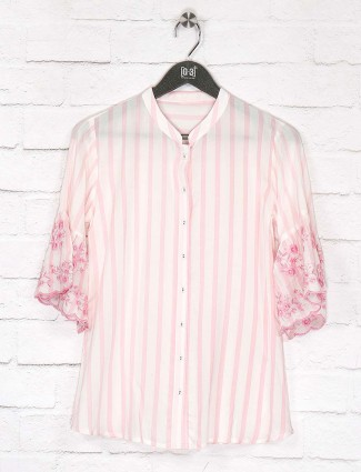 Pretty pink cotton top for women