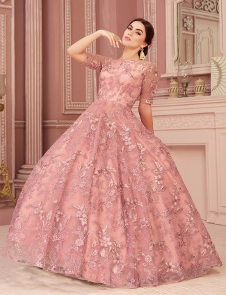 Pretty pink gown in net