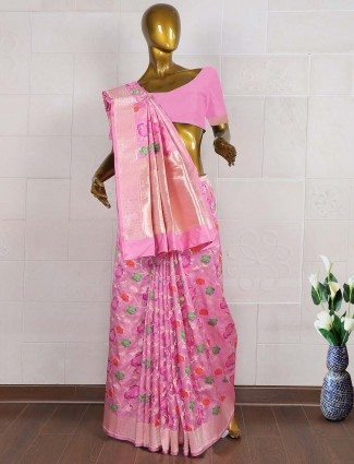 Pretty pink hue pure banarasi wedding saree